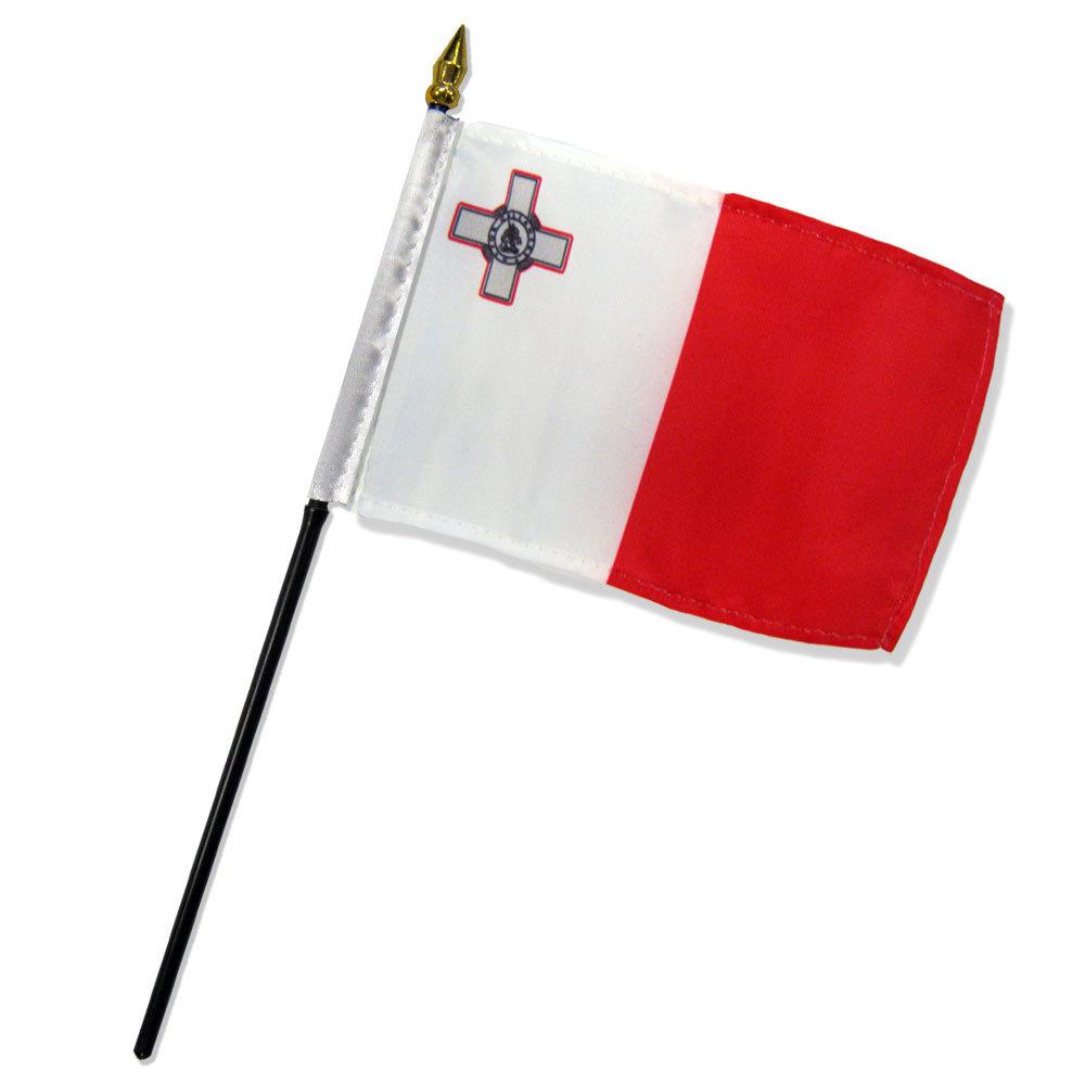 """Malta Desk Flag /""""4x6/"""" Malta Flag Malta Stick Flag"""