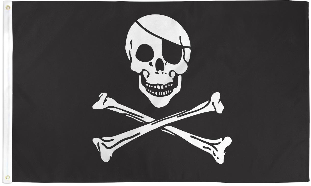 Pirate Happy Face Bandana Eye Patch 3x5ft Polyester Flag